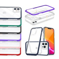 Clear Acrylic Shockproof Phone Cases for iPhone 13 12 Mini 11 Pro Max XR XS 6 7 8 Plus Samsung A12 A02S A82 5G A72 A52 A22 TPU PC Armor 2 in 1 Back Cover