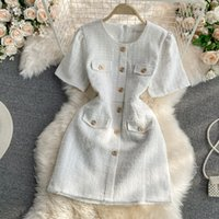 Nouveau design Femme Summer Mode Col O-Cou Sleep Tweed Laine Simple Single Courti-laine Robe Slim Couleur Solid Couleur ML