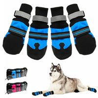 4pcs blue rose Waterproof Winter Pet Dog Shoes Anti-slip Snow Boots Paw Protector Warm Reflective For Medium Large Dogs Labrador Husky