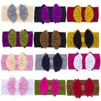 24 Kolor Baby Bawełna Duża Dwa Warstwa Kłębek Pałąk Dziewczyny nad Rozmiar Włosy Łuk Kępa Głowy Turbanu Top Łuki dla niemowląt Szeroki Headwrap