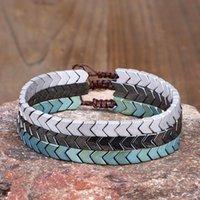 Charm Bracelets Fashion Natural Hematite Stone Bracelet For Women Men Braided String Braclet V Shape White Black Braslet Accessories Gift