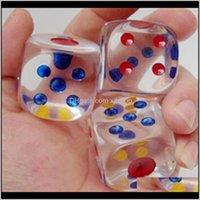 Gambing 24mm 6-сторонние кристаллические кубики прозрачные четкие кости дети партии игры детские образовательные игрушечные напитки игры хорошая цена высокое качество fopxc