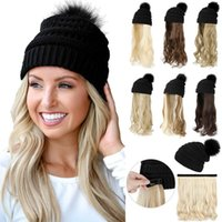 Beanie Skull Caps 2021 Latest Winter Hat Wig Lady Luxury Woman Designer Fashion Long Curly Hair Pure Black Keep Warm Cap
