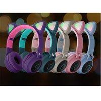 Cute Cat Ears Headphone Wireless Bluetooth 5.0 Headband Earphones Game Colorful LED Light Headset Beauty HIFI Music Headphones Grils Kids Gift DHL
