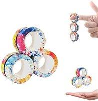 تورنادو 3 قطع فنجر لعبة الدائري تململ المغناطيس لعب الأصابع اليد سبينر التراص لعبة مجموعة، سوار المغناطيسي سحر لتخفيف التوتر في سن المراهقة، ثلاثة في صندوق