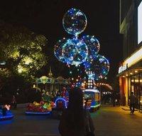 أضواء LED البالونات أداة إضاءة الليل بوبو الكرة متعدد الألوان الديكور الزفاف الزخرفية زخرفية أخف وزنا مع عصا