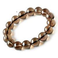Bracelet de quartz de quartz en cristal de fumée naturel brun véritable Stretch Perle cycée Femmes hommes 8mm 10mm 12mm 14mm 16mm perlé, des brins