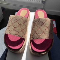 """2021 дизайнерские женщины оригинальные сандальные платформы тапочки лето классические винтажные слайды 2,4 """"высокие каблуки пляжные сексуальные туфли высочайшего качества с коробкой"""