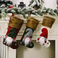 New Christmas Decorations Faceless Doll Fluffy Christmas Socks Creative Children's Gift Socks Candy Socks