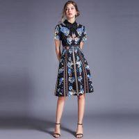 Borisovich Women Summer Casual Fashion Turn-down Collar Knee-length Elegant A-line Ladies Party es N1129