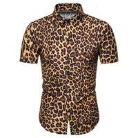Léopard Imprimer Miicoopie Hommes Chemises de mode à manches courtes pour l'été Print Print Casual Mode Hommes Shirts_YW_XJ