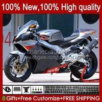 Moto Carrosserie pour Aprilia Mille RV60 RSV1000 R RR 2004 2006 2006 2006 RSV-1000 RSV-1000 RSV1000RR RSV1000R 04-06 RSV 1000 R 1000R 1000RR 04 05 06 Kit de carénage Gris Stock noir