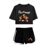 Women's Tracksuits Smoke Sets Crop Top + Shorts Sweat Suits Women Two Piece Outfit Rapper Streetwear Tshirt