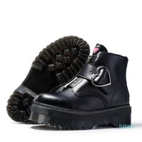 High quality fashion black buckle zipper short ankle booties women genuine leather martin boots big size 35-41