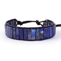 Hohe Endrohrform Lapis Lazuli Einzelne Leder Wrap Armbänder Vintage Weberei Perlen Manschette Armband Bijoux Drop