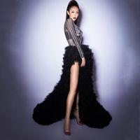 Trajes de mujer Rhinestone de plata Transparente Body Body Falda larga Dos Piezas Traje Cumpleaños Celebre Destello Dance Dance