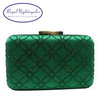 Royal Nightingales Bolso y bolsos de embrague de noche de cristal grande para bolsos de bolsos para mujer Emerald Green Navy Blue 210903