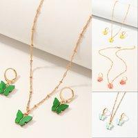 Collares y pendientes colgantes de mariposa para mujer Niñas Fashion Pink Gold Necklace elegante gargantilla moda dulce joyería conjuntos regalo 16 w2