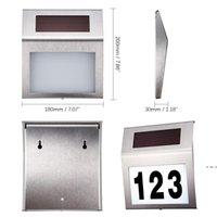 Solarbetriebene LED-Lichtschild Haustüradresse Plaque-Türschild Nummernlicht Außenwand-Plaque-Lampe HWD6236