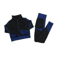 Формирование леггинсов Фитнес-костюмы Йога Женщины наряды 3 шт. Устанавливает рубашку с длинным рукавом + спортивный бюстгальтер + бесшовные тренировки бегущая одежда Wygle Meet, LF051 15
