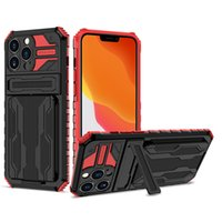 TPU PC Bracket Phone Cases for iPhone 13 Pro Max 12 mini 11 XS X XR 6 7 8 Plus Aplle SE Credit Card Hard Holder Cellphone Case