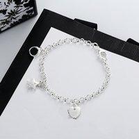 Nuova moda donna braccialetto creativo stella cuore cuore tre braccialetto di stile di alta qualità argento placcato materiale braccialetto