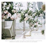 Parti Dekorasyon Metal Düğün Centerpiece Çiçek Standı Geometrik Dikdörtgen Çerçeve Backdrop Yol Kurşun Ev