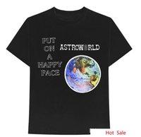 Factory8XD7 Kadınlar Astroworld Albümü Erkekler Dünya Desen Mektup Baskı T-Shirt Rapper Travis Scott Moda Tees Yaz SHO Tops