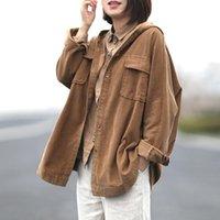 Women's Jackets Long Sleeve Casual Jacket Coat Women Basic Loose Short Female Outerwear Hooded Corduroy