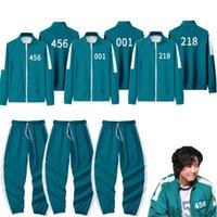 Gym Clothing Squid Game Men's Tracksuits Li Zhengjae Same Jacket 456 218 067 001 Autumn Casual Polyester Stand-up Collar Sweatshirt Suit Plus Size 2XS-4XL H1011