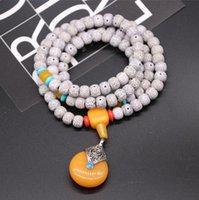 Ketting Star Moon Bodhi Kettingen Sieraden Pipal Tree Seed 108 Stks Imitatie Bijenwas Hanger Armband WMQ1206