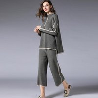 Women's Two Piece Pants Large Size 2 Knitted Set Outfits For Women 2021 Autumn Winter Tshirt Wide Legg Suit Casual Loose Wear 2904LY