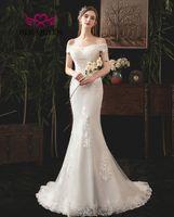 Bonito elegante branco sereia vestido de casamento para as mulheres apliques renda com miangas fora do ombro vestidos
