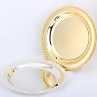 """Dishes & Plates Luxury Silver   Gold Charger Metal Tray 25 CM  9.8"""" Round Nut Plates  Sweet  Cake For Home Christmas Decoration"""