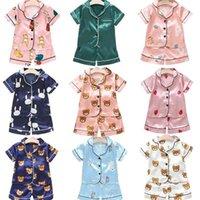 Rahat Pijama Takım Elbise Ipek Çocuklar Bebek Kız Pijama Set Sevimli Çocuk Giyim Kısa Kollu Boys 210727