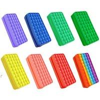 크리 에이 티브 새로운 Fidget 장난감 실리콘 푸시 연필 케이스 사각형 프레스 버블 감압 연구 편지지 저장 부대 OWB9755