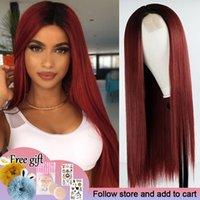 Lunghi capelli diritti pizzo parrucca anteriore vino rosso parrucca sintetica donna natura naturale medio resistente al calore fibra quotidiana parrucca