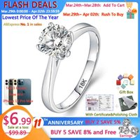 Yanhui with Certificate Luxury 18k White Gold Ring Silver 925 Jewelry Wedding Band for Women 2.0ct Lab Diamond Engagement Rings