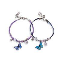 Charm Bracelets Cute Butterfly Pendant Bracelet Metal Drip Glaze Charms Gift Bangles For Women Girl Children 3365 Q2