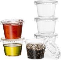 Temizle Plastik Jello Atış Kupası Konteynerleri Sleak-Kavere Kapakları Ile Jello Shooter Shot Cups Kompakt Gıda Depolama Porsiyon Kontrol Sosları, Sıvı, Dips