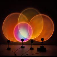 10 adet Günbatımı Projektör Lambaları 180 Derece Rotasyon Gökkuşağı Güneş Modu Gece Işık USB Romantik Projeksiyon Lambası Parti Tema Yatak Odası Dekor Için JH08