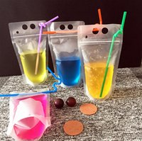 In stock 750ml Drink Pouches Bags frosted reclosable zipper Stand-up Plastic Drinking Bag with straw Heavy Duty Hand-held Translucent XY9J