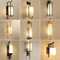 Duvar Lambası Çin Tarzı Klasik Oturma Odası Yatak Odası Başucu Lüks LED TV Arka Plan Vintage Işık
