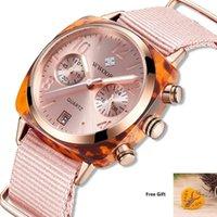Наручные часы 2021 WWOOOR Женские Часы Кварцевые Часы Нейлоновый Ремешок Дамы Запястья Светящиеся Руки Дата Мода Водонепроницаемый наручные часы