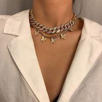 Multilayer Butterfly Pingentes Borla Gargantilha Colares Restaurar Antigas Formas Cuba Chain Diamante Moda Jóias Mulheres Presentes de Férias