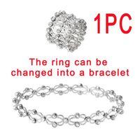 2 In 1 Magic Retractable Ring Foldable Bracelet Tennis Creative Stretchable Twist Folding Rings Crystal Rhinestone Bracelets Women Jewelry Gift