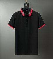Classic mens Polo Shirts mens shirt Embroidery Summer Casual men clothe Striped Skateboard Tees Tops Black M-3XL
