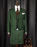 Men's Suits & Blazers Fashion Groom Wear Green Tuxedos Men Costume Homme Terno Masculino Prom Slim Fit Man Blazer 3 Pieces Jacket Pant Vest