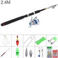 2.4m Fishing Rod Reel Line Combo Full Kits 3000 Series Spinning Pole Set With Lures Float Hooks Beads Bell Lead Weight Etc Boat Rods