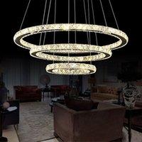 Pendant Lamps Creative Stainless Steel Round Crystal Chandelier Modern Minimalist LED Lights Luxury Bedroom Restaurant Household Indoor Lighting Easy to Install